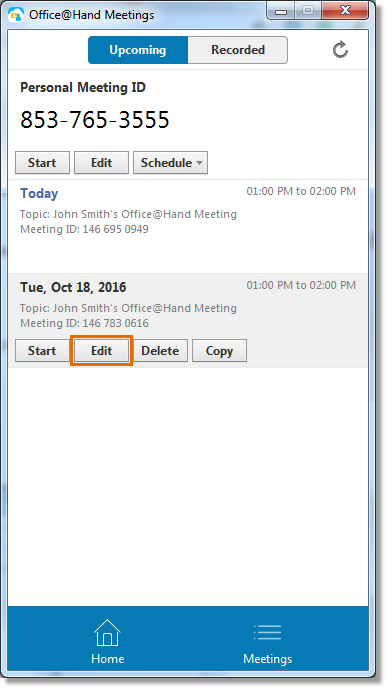 Hover your mouse over a meeting that needs to be edited, then click Edit.