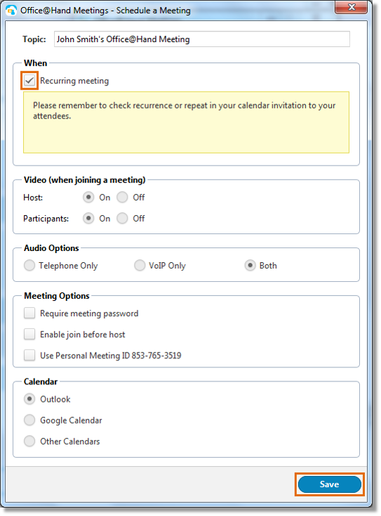 Click Recurring meeting, then click Save.