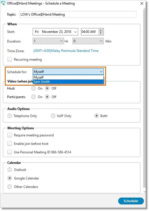 Click the Schedule for: checkbox, and select the original Host/User whom you are scheduling a meeting for.