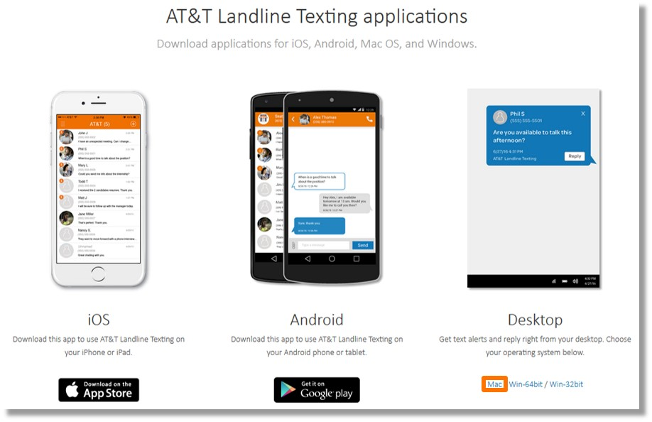 Download and install the AT&T Landline Texting desktop