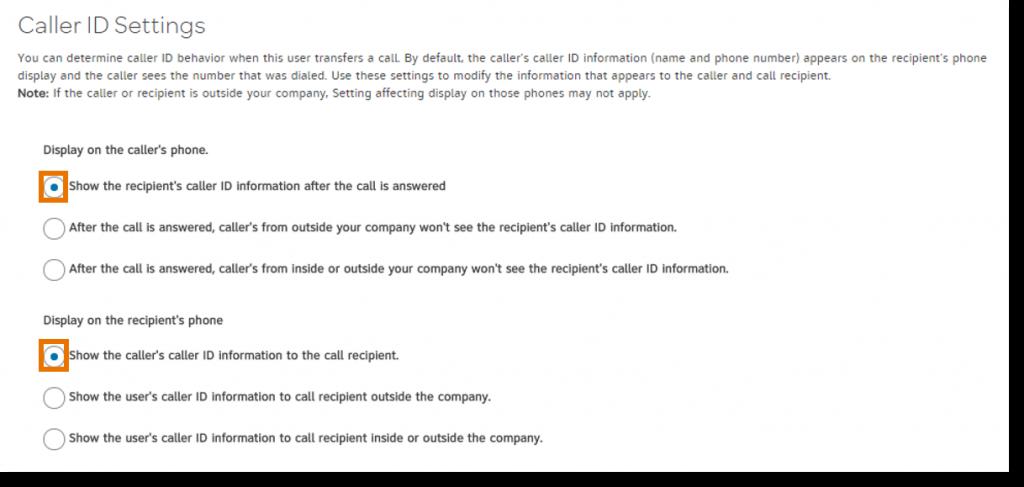 Select desired Caller ID settings