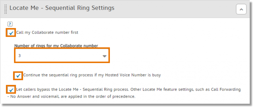 Check the boxes for the settings you want