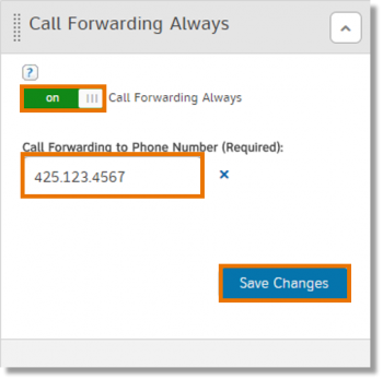 Call Forwarding Always section
