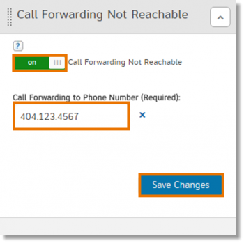 Call Forwarding Not Reachable section