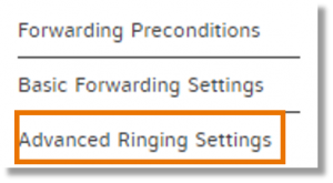click Advanced Ringing Settings