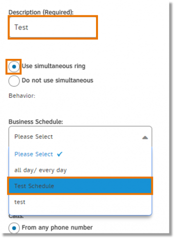 Enter a description, select an action, and then select schedules (Business and Holiday).