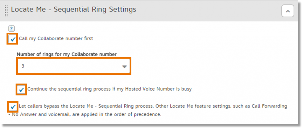 set Locate Me Sequential Ring Settings