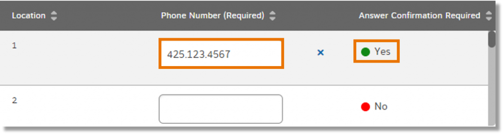 Enter phone numbers (using 10 digits), and for each phone number, click No until it turns to Yes to turn on answer confirmation.
