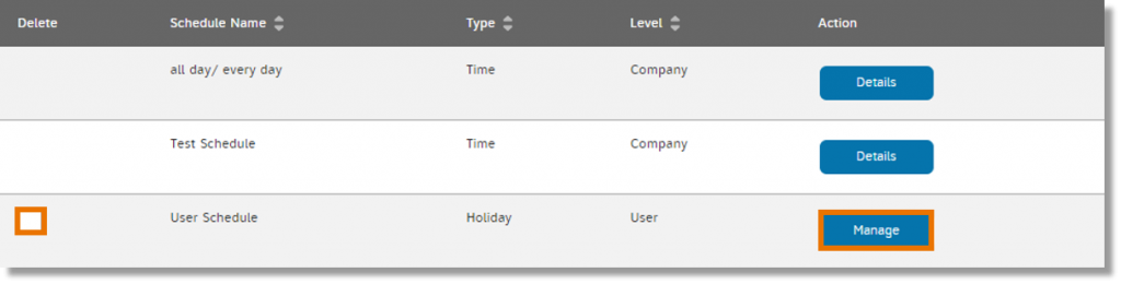 Check the checkbox and click Manage