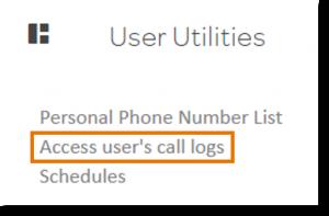 Click Access User's call logs