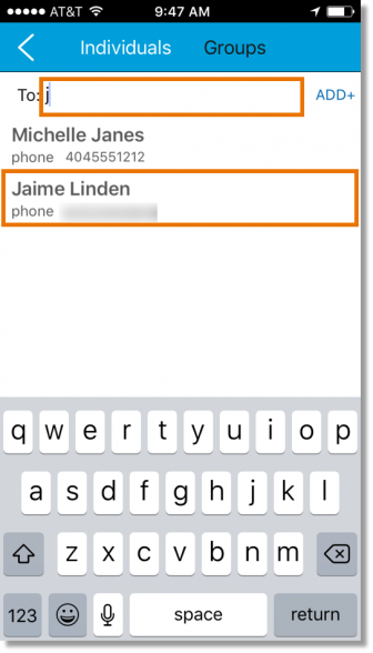 Begin typing the name of the contact you wish to message.