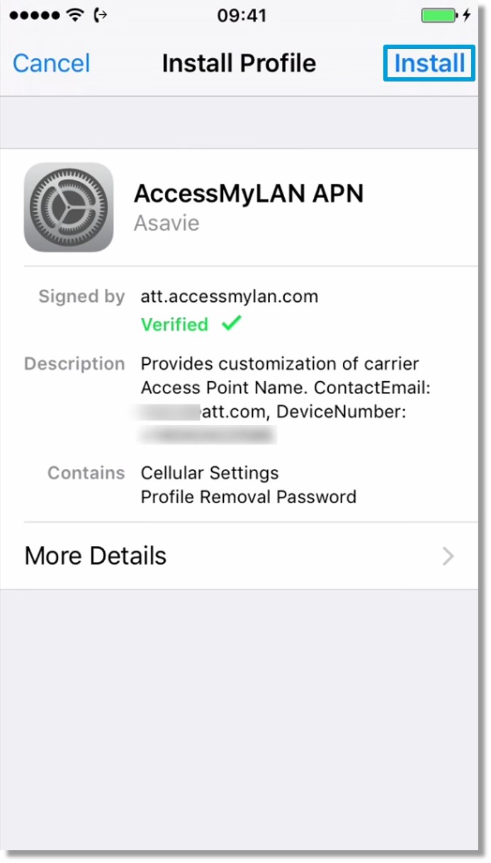 Initial setup of AccessMyLAN on iPhone - Asecare