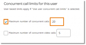 User's concurrent call limits