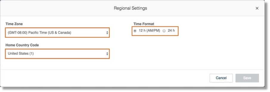 Configure your Time Zone, Home Country Code, and Time Format. Click Save to save your settings.