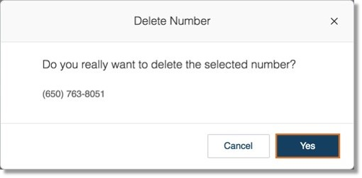 A notification will appear to confirm deletion of your extension's Direct Number, click Yes to proceed.
