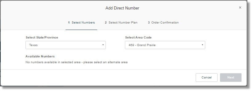 Select an alternate area if there are no numbers available in the selected area.