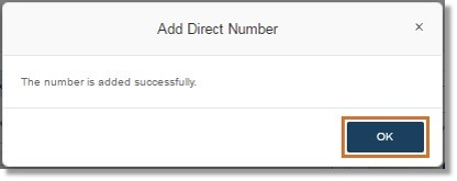 A notification appears confirming that the number has been successfully added. Click OK.