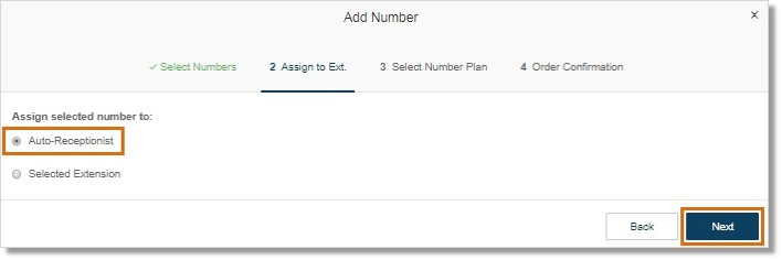 Assign the number to the Auto-Receptionist or a selected extension, then click Next.