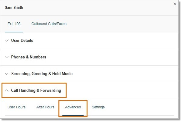 On the selected User's info, click Call Handling & Forwarding, and then click Advanced.