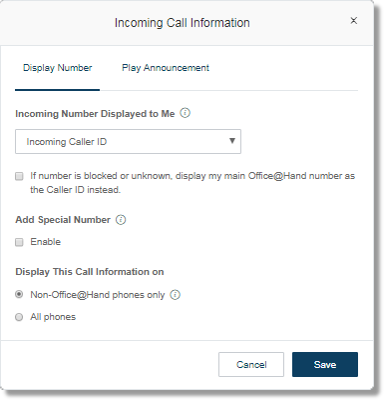 Incoming Call Information window