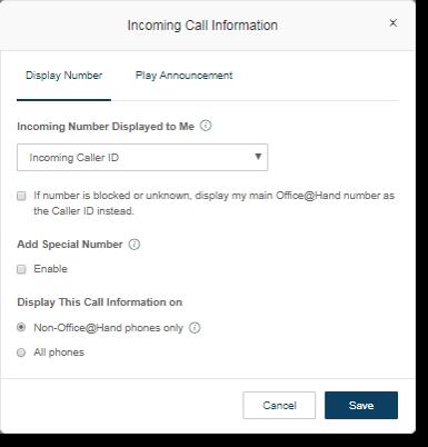 Incoming Call Information window