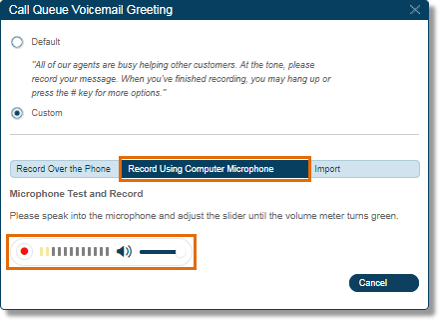 Select Record Using Computer Microphone, and then click Record to begin recording your custom greeting using your computer's microphone.