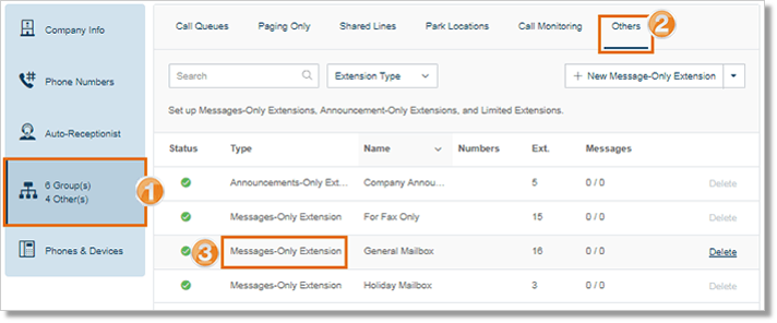Under Groups > Others, select your Message-Only Extension.