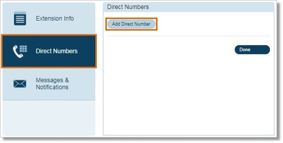 On the Direct Numbers tab click Add Direct Number.