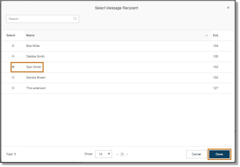Click Select Extension to select the extension where the voicemail messages will be saved, and then click Done.