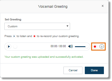 Customizing a users voicemail greetings through officehands click the record button to upload a different file or click the download button to download m4hsunfo