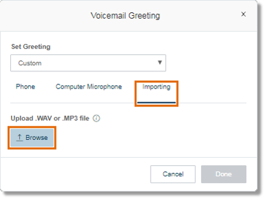 Click Browse to locate your pre-recorded greeting and then, select your preferred voicemail recording.
