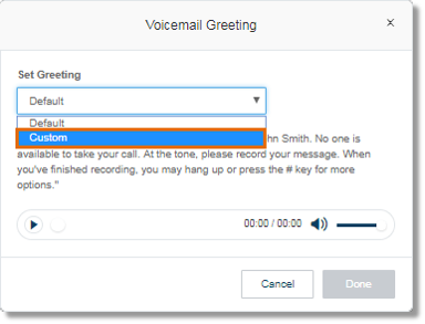 Customizing a users voicemail greetings through officehands click edit under voicemail greeting select custom on the drop down menu m4hsunfo