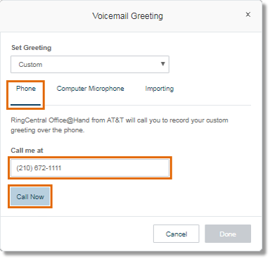 This option lets you record your own Announcement greeting over the phone.