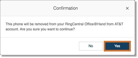Click Yes to confirm and proceed.