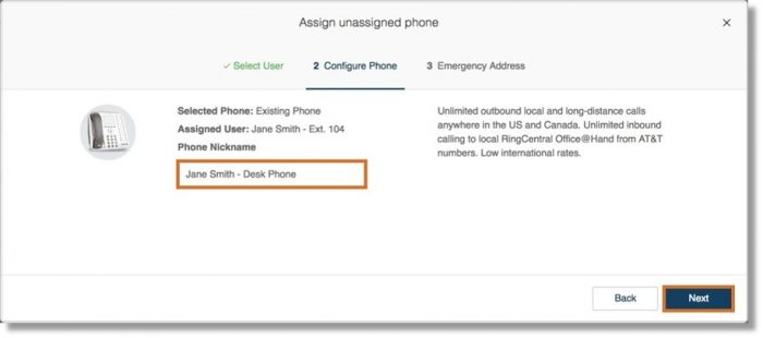 On the Configure Phone tab, provide a Phone Nickname then click Next to proceed.