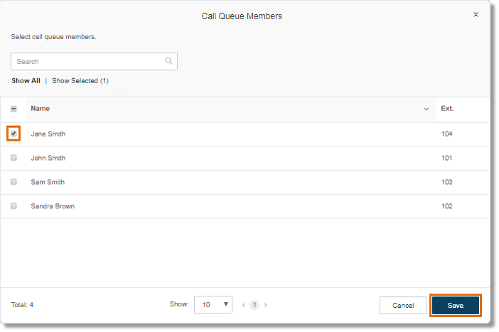 Select the Users that you wish to remove from the Call Queue group's member list.