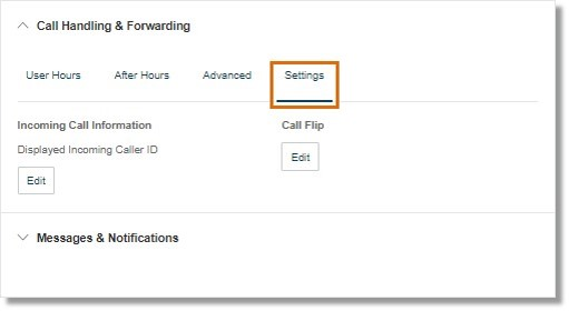You can configure your Incoming Call Information and Call Flip settings.