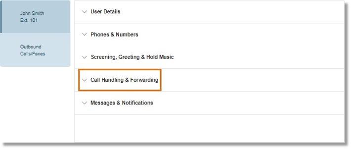 Click Call Handling & Forwarding.