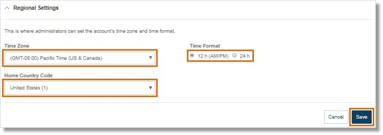 Customize your Time Zone, Home Country Code, and Time Format.