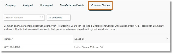 The Common Phones tab shows the list of phone numbers assigned to your Common Phones.