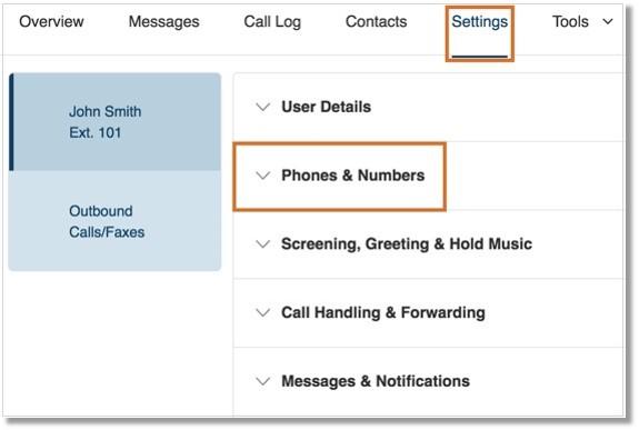 Click Settings > Phones & Numbers.