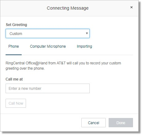 Image of the connecting message menu.
