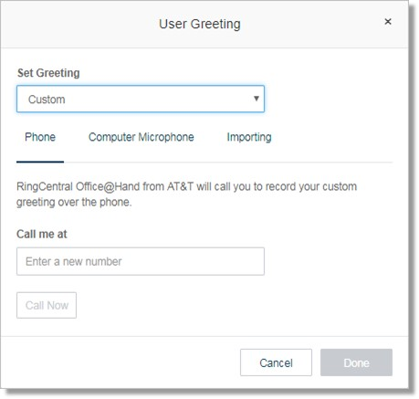 Image of the user greeting menu.