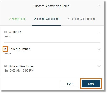 You can also add more conditions to the Advanced Call handling rule.