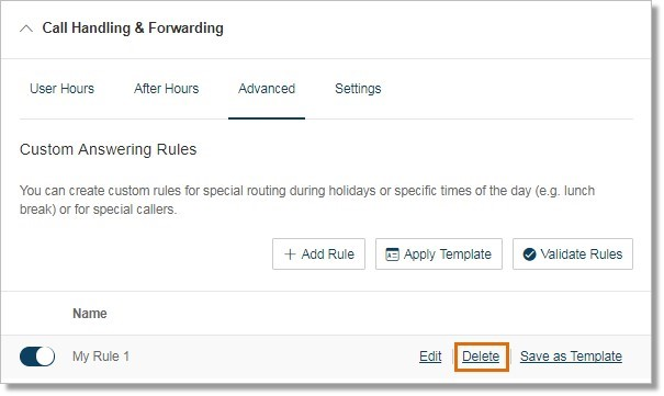 You can delete an advanced call handling rule when it is no longer applicable for future use.