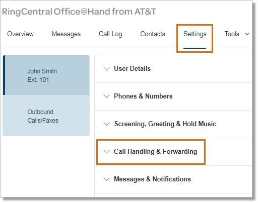 Click Settings > Call Handling & Forwarding.