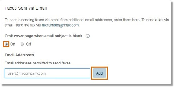 Enter the email address on the Email addresses permitted to send faxes field and click Add.