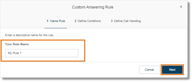 Enter the name of the rule, then click Next.