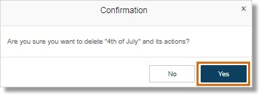 Note: A confirmation appears, asking you if you want to continue deleting the rule. Click Yes.