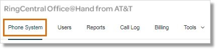 On the Admin Portal, click the Phone System tab.